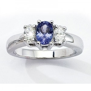14K Yellow Gold Three Stone 7x5 Oval Tanzanite and .50 Ct Diamond Ring
