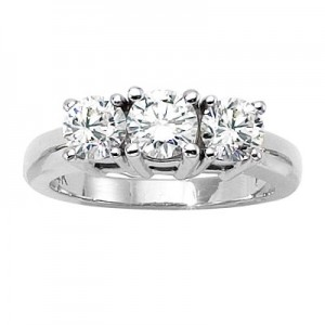 14K White Gold Three Stone 1.5 Ct Round Diamond Ring