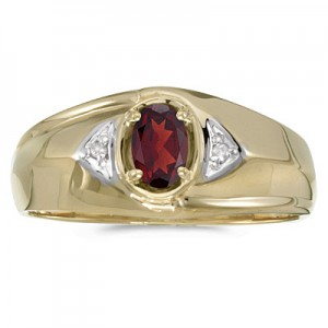 10k Yellow Gold Oval Garnet And Diamond Gents Ring