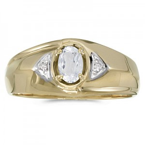 10k Yellow Gold Oval White Topaz And Diamond Gents Ring