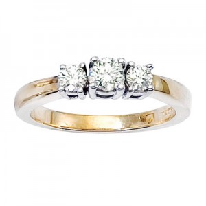 14K Yellow Gold Three Stone .50 Ct Round Diamond Ring