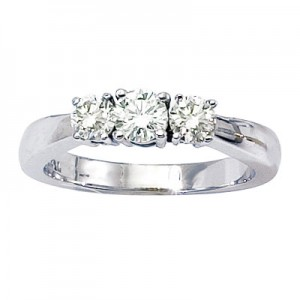 14K White Gold Three Stone .75 Ct Round Diamond Ring