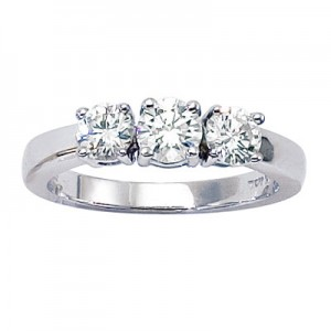 14K White Gold Three Stone 1 Ct Round Diamond Ring