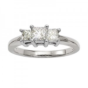 14K White Gold Three Stone .75 Ct Princess Diamond Ring