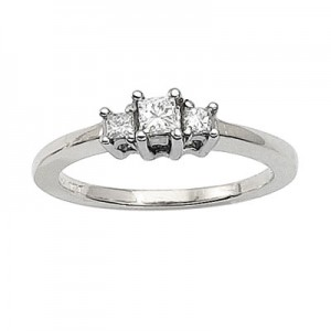 14K White Gold Three Stone .25 Ct Princess Diamond Ring