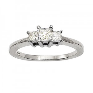 14K White Gold Three Stone .50 Ct Princess Diamond Ring