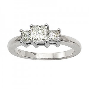 14K White Gold Three Stone 1 Ct Princess Diamond Ring