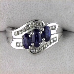 14k White Gold Three Stone Sapphire and Diamond Ring