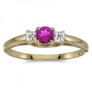 10k Yellow Gold Round Pink Topaz And Diamond Ring