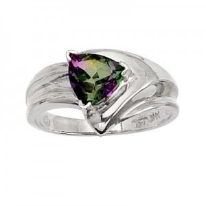 14K White Gold 7mm Trillion Mystic Topaz Wide Shank Ring