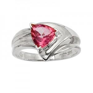 14K White Gold 7mm Trillion Pink Topaz Wide Shank Ring