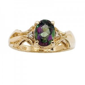 14K Yellow Gold 8x6 Oval Mystic Topaz and Diamond Ring