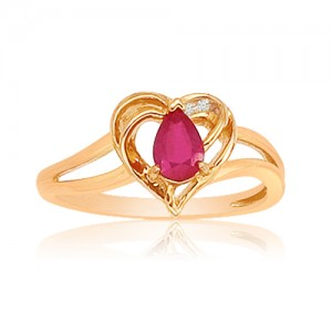 14k Yellow Gold Heart Precious and Diamond Ring