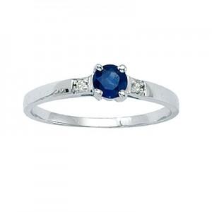 14k White Gold Precious and Diamond Ring