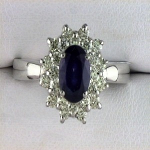 14k White Gold Oval Gemstone and Diamond Flower Ring