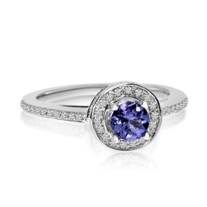 14K White Gold 5mm Round Tanzanite and Diamond Double Circle Fashion Ring