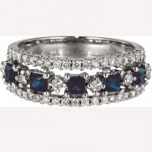 14K White Gold Square Sapphire and Diamond Precious Fashion Ring