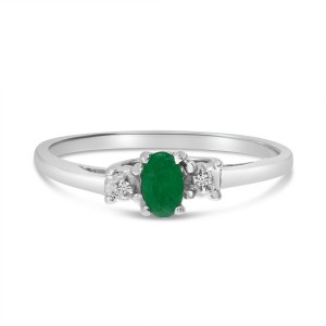 14K White Gold Oval Emerald and diamond accent birthstone ring
