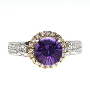 14K Two Tone White and Yellow Gold 8mm Round Concave Amethyst and .55 Ct Diamond