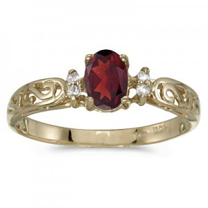 14k Yellow Gold Oval Garnet And Diamond Filagree Ring