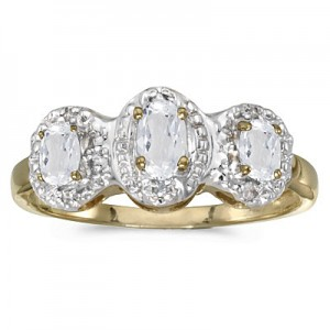 10k Yellow Gold Oval White Topaz And Diamond Three Stone Ring