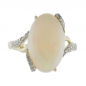14k White Gold Opal and Diamond Loop Prong Ring