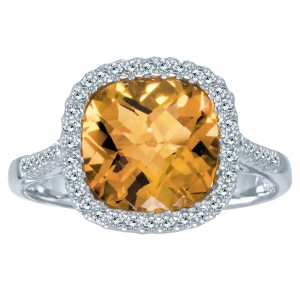 14K White Gold Semi Precious Cushion Citrine and Diamond Fashion Ring