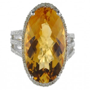 14K White Gold Large 18 x 13 mm Oval Citrine and Diamond Semi Precious Fashion R