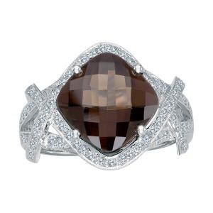 14K White Gold 11mm Cushion Smoky Topaz and Diamond Semi Precious Fashion Ring