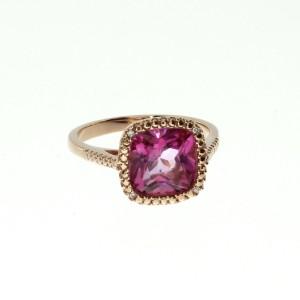 14K Rose Gold 7mm Cushion Pink Topaz Fashion Ring
