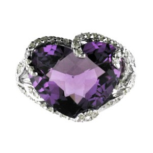 14K White Gold Large 12 mm Heart Amethyst and Diamond Semi Precious Fashion Ring