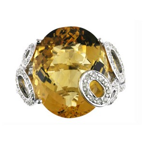 14K White Gold Large 14 x 10 mm Oval Citrine and Diamond Semi Precious Fashion R