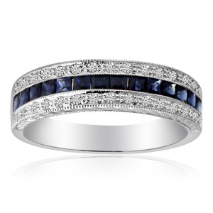 14k White Gold Princess Sapphire and Diamond Band