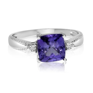 14K White Gold 7mm Cushion Tanzanite and Diamond Fashion Ring