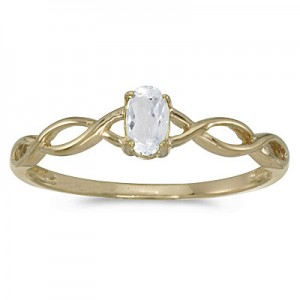 10k Yellow Gold Oval White Topaz Ring