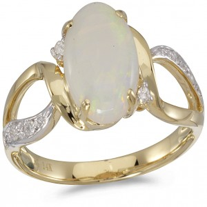 14k Yellow Gold Opal Fashion Ring