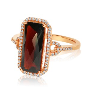 14k Rose Gold Emerald-cut Garnet Semiprecious Ring