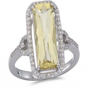 14K White Gold Large 15 x6 mm Emerald Cut Lemon Quartz and Diamond Semi Precious