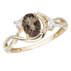 14K Yellow Gold 2 Ct Oval Smoky Topaz and Diamond Bypass Ring