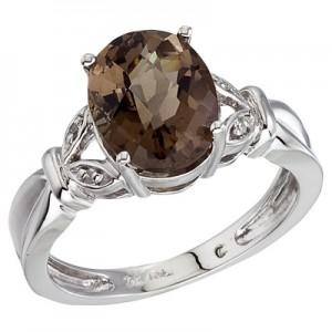 14K White Gold Large Oval Smoky Topaz and Diamond Ring