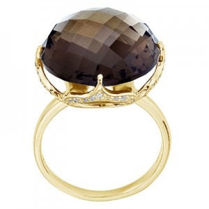 14K Yellow Gold Dome Top Smoky Topaz and Diamond Ring