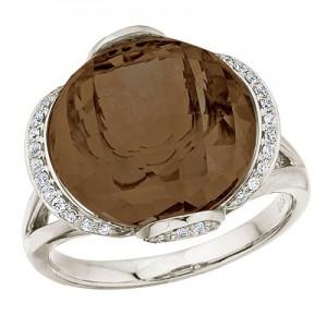 14K White Gold Smoky Topaz and Diamond Dome Ring