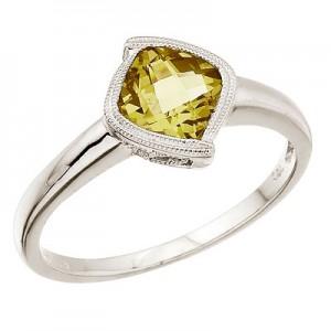 14K White Gold 6 mm Cushion Lemon Quartz Ring