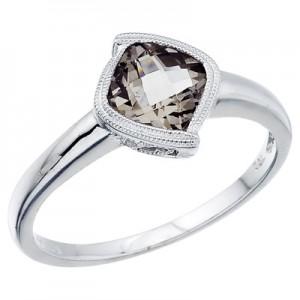 14K White Gold Smoky Topaz Ring