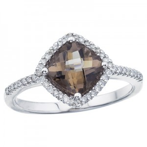 14K White Gold Smoky Topaz and Diamond Ring