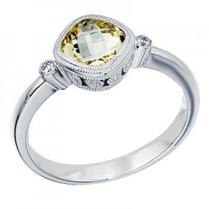 14K White Gold 6 mm Cushion Lemon Quartz and Diamond Bezel Ring
