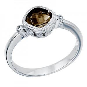 14K White Gold 6 mm Cushion Smoky Topaz and Diamond Bezel Ring