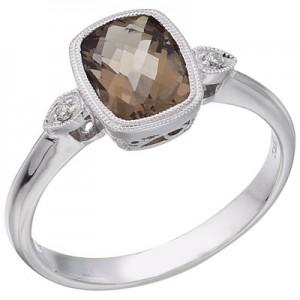 14K White Gold Smoky Topaz and Diamond Bezel Ring