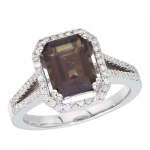 14K White Gold 3 ct Emerald Cut Smoky Topaz and Diamond Ring