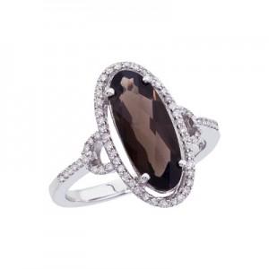 14K White Gold Long 6x5 Oval Smoky Topaz and Diamond Ring